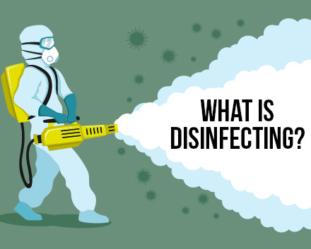 A Drawing of a Disinfection Technician Spraying and in the Fog, It Says,